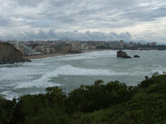The Atlantic ocean and Biarritz, France