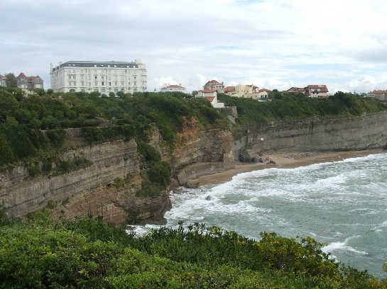 The cliff face at Biarritz, France