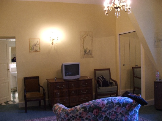 Our huge room in the Chateau des Reynats in the Dordogne Valley, France