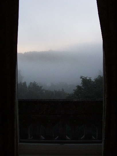 Morning mist from our room in the Chateau des Reynats in the Dordogne Valley, France