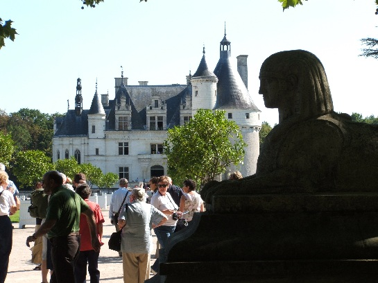 The main entrance to the Palace of Chenonceau in the Loire Valley, France