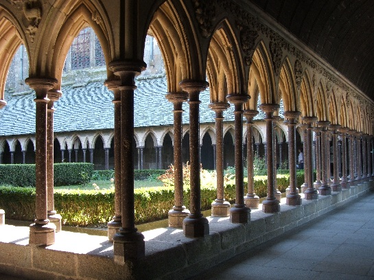 The cloister gardens of Mont St. Michel, France