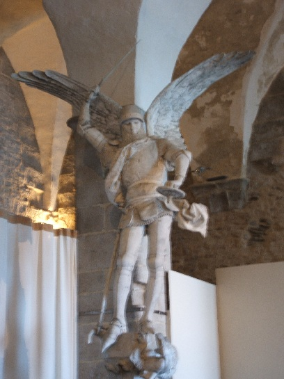 Statue of Michel inside Mont St. Michel, France