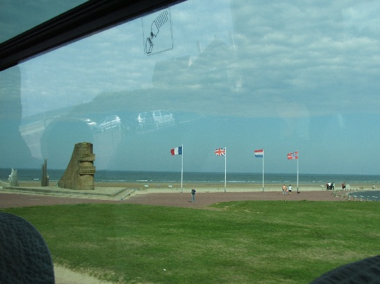 Monument on the D-Day landing beaches, Omaha Beach, Normandy, France