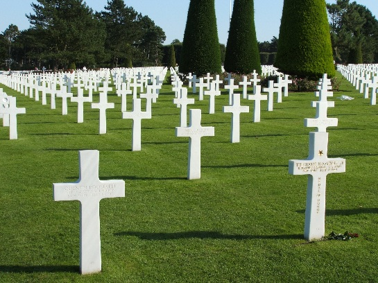 War graves of Theodore Roosevelt Jr (1944) and Quentin Roosevelt (1918) at the war cemetery of allied D-Day forces, Omaha Beach, Normandy, France