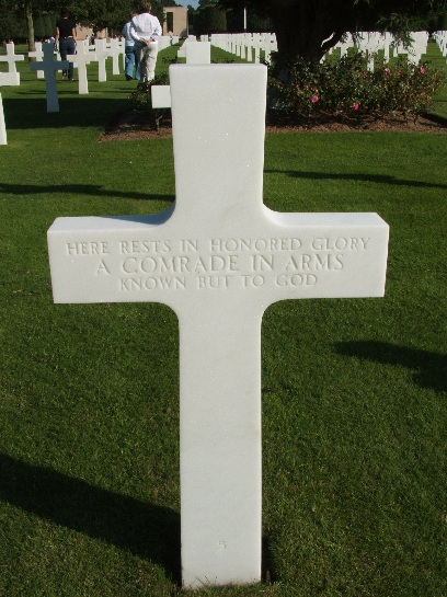 War grave of an unknown soldier amongst the honoured dead at War cemetery of allied D-Day forces, Omaha Beach, Normandy, France