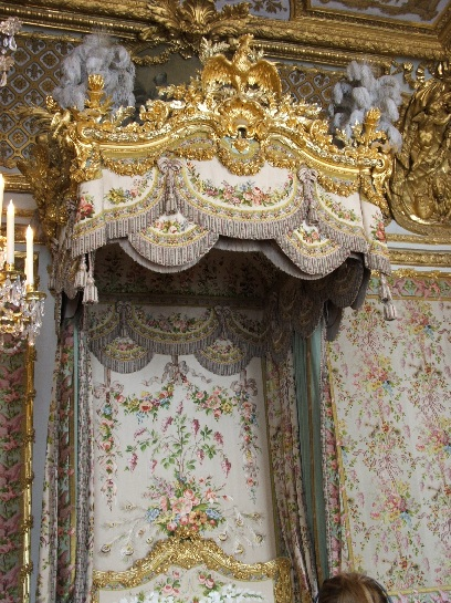 The Queen's bedchamber at Versailles Palace, Paris, France