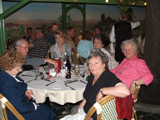 Kim and Shirley with the Best of France tour at the final dinner on Montmartre, Paris, France