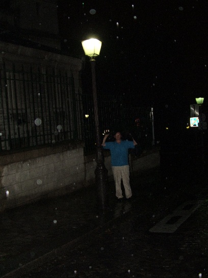 Ross in the rain on the last night of the tour on Montmartre, Paris, France