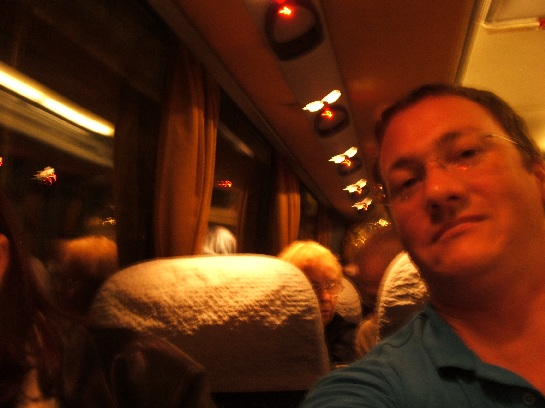 Ross in the bus on the last night of the tour on Montmartre, Paris, France