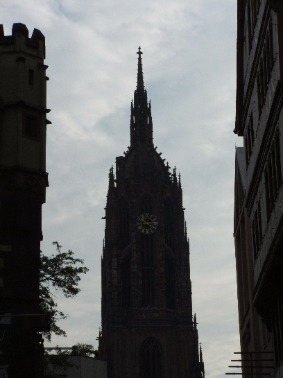 The Clock Tower in main square in Frankfurt, Germany
