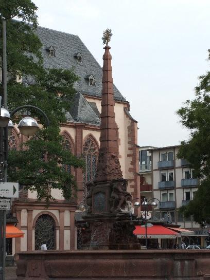 Red Sandstone Fountain in Frankfurt, Germany
