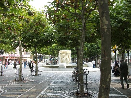 The tree lined plaza in Frankfurt, Germany
