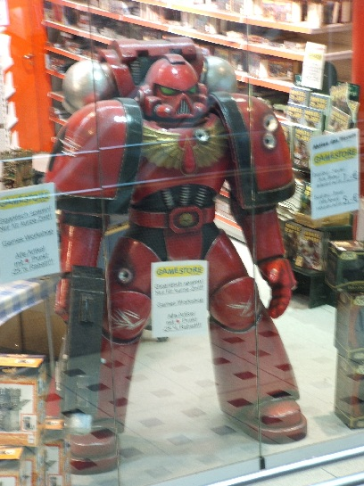 Life size Impreial Space Marine in games store in Frankfurt, Germany