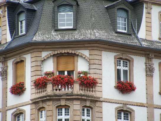 Building with flower boxes in Frankfurt, Germany