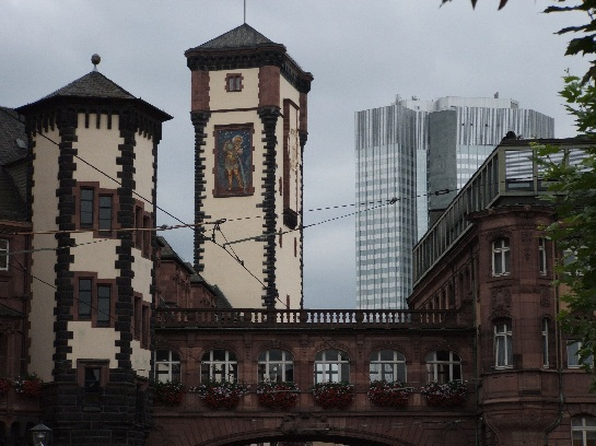 Building with murals in Frankfurt, Germany