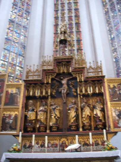 The Altar inside the Church in Rothenburg, Germany