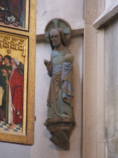 Early carving of Christ inside the Church in Rothenburg, Germany