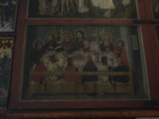 Painting at the back of the Altar inside the Church in Rothenburg, Germany