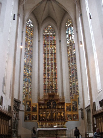 Stained glass windows inside the Church in Rothenburg, Germany