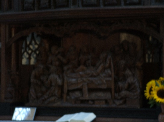 Wooden carvings inside the Church in Rothenburg, Germany