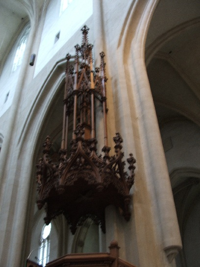 Wooden pulpit inside the Church in Rothenburg, Germany