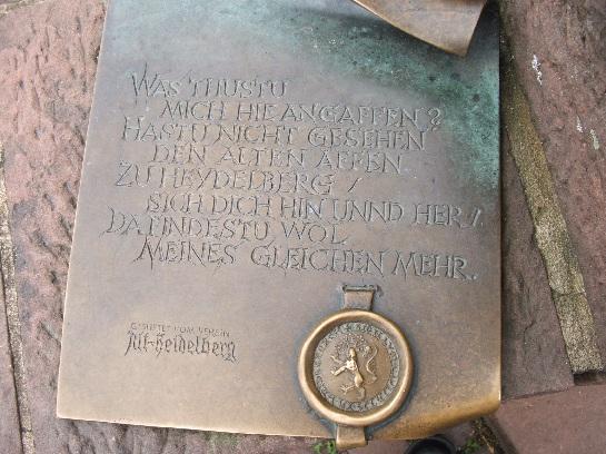 Plaque on the Monkey Statue on the bridge in Heidelberg, Germany