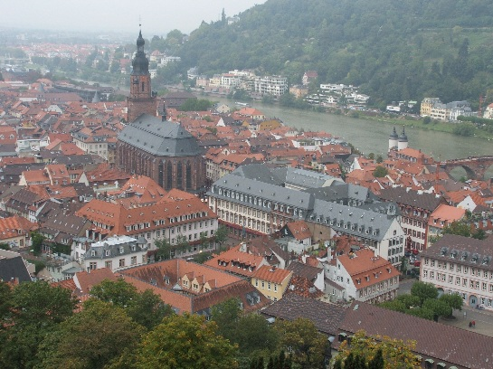View of Heidelberg Cathedral from Heidelberg Castle, Heidelberg, Germany