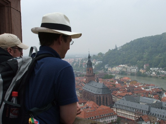 Ross looking over Heidelberg Cathedral from Heidelberg Castle, Heidelberg, Germany