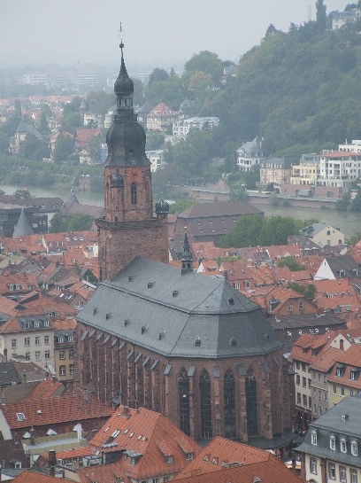 Heidelberg Cathedral from Heidelberg Castle, Heidelberg, Germany