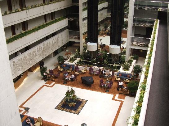 View of the atrium area of the Le Meridien hotel, Singapore