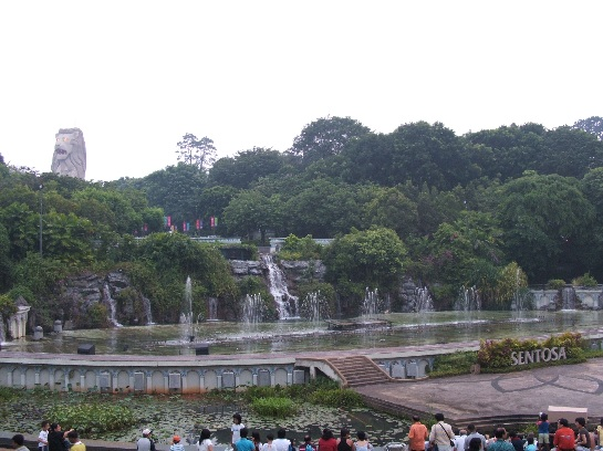Merlion and fountains on Sentosa Island, Singapore