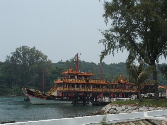 Chinese Junk Cruiser docked at Kusu (Tortoise Island) Island Singapore Harbour, Singapore